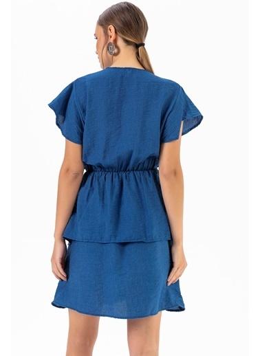 Emjey Eteği Katlı Elbise Mavi